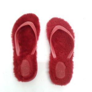 Ugg Fluffy Red Flip Flop Sandals Sz 8 #2